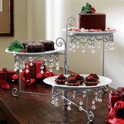 new 3 tier swivel beaded triple dessert party buffett