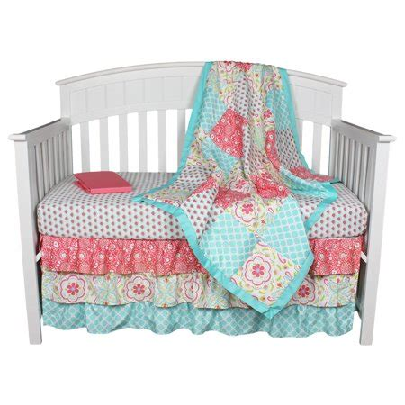 floral coral aqua 4 in 1 baby crib bedding set by