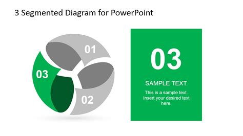 3 step spherical segmented diagram for powerpoint slidemodel