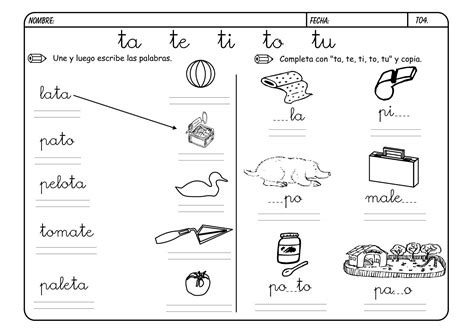 imagenes y palabras con t actividades con la letra t imagui