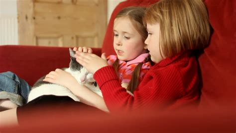 two girls having on the couch two little girls cuddling a gorgeous cat on a sofa stock