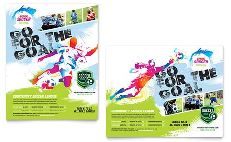 templates for sports posters youth soccer poster template design
