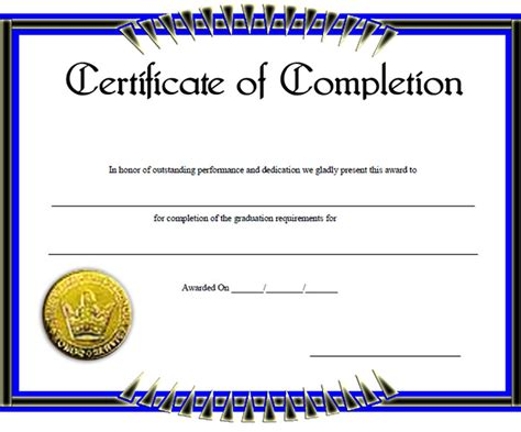 certificate of completion free template certificate of completion template 31 free word pdf