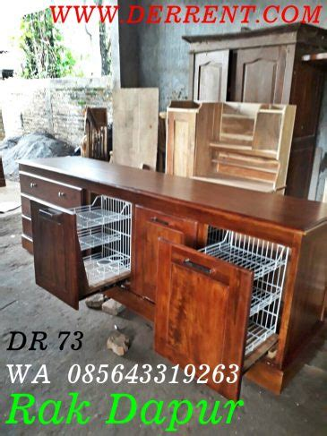Lemari Kayu Akasia jual lemari dapur kayu dengan rak piring yang tertutup