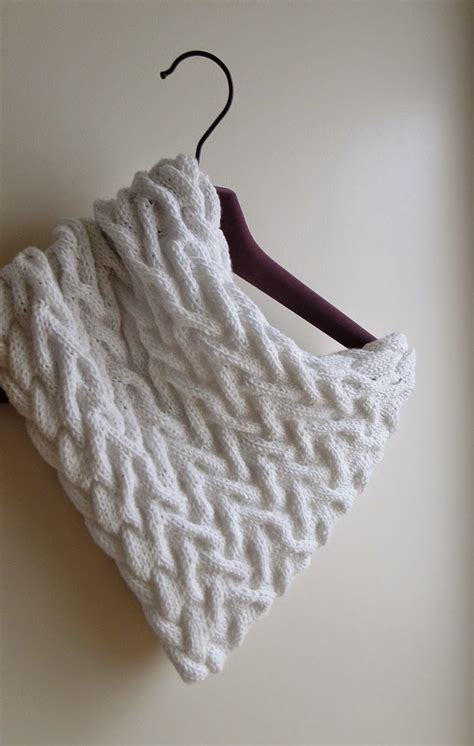 free knitted cowl patterns cables knitting patterns galore white cabled cowl