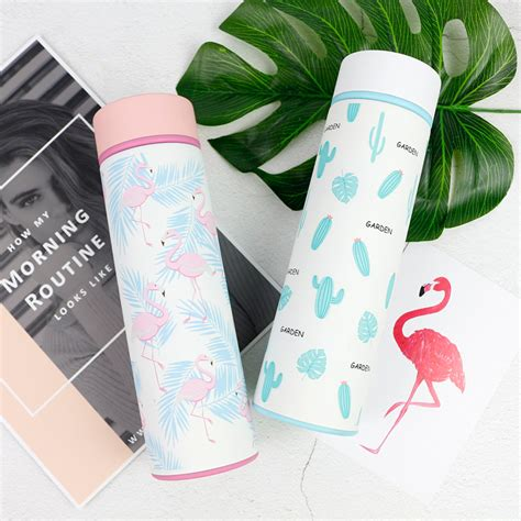 Flamingo Printed Thermal Bottle flamingo or cactus printed stainless steel thermos