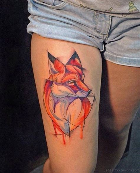 classy tattoo 92 brilliant fox tattoos on thigh