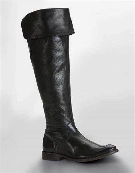 frye shirley cuffed leather boots in black black