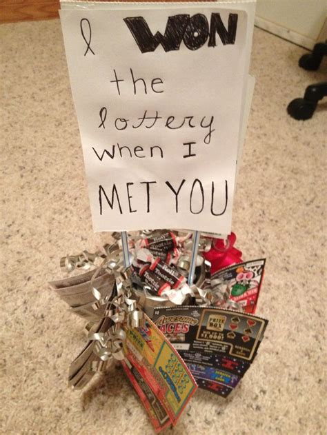 homemade boyfriend gift with candies and lottery tickets