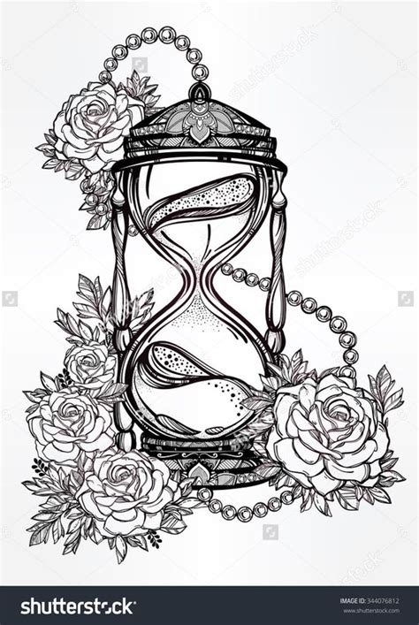hand drawn romantic beautiful drawing of a hourglass with