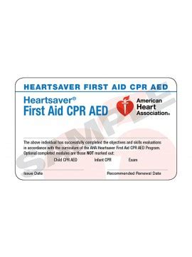 heartsaver cpr aed card template aha course completion cards american association