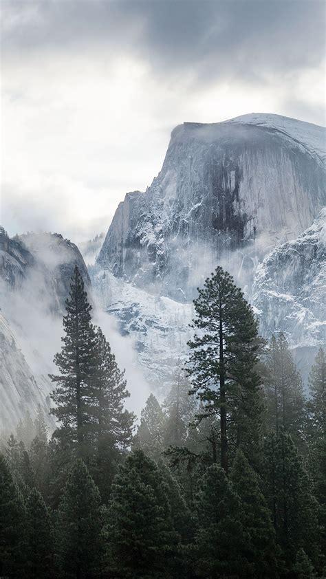 yosemite snow mountain nature papersco