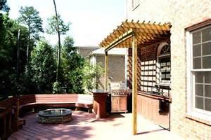 Small Decks With Pergolas by Composite Deck With Small Pergola And Fire Pit Pergolas