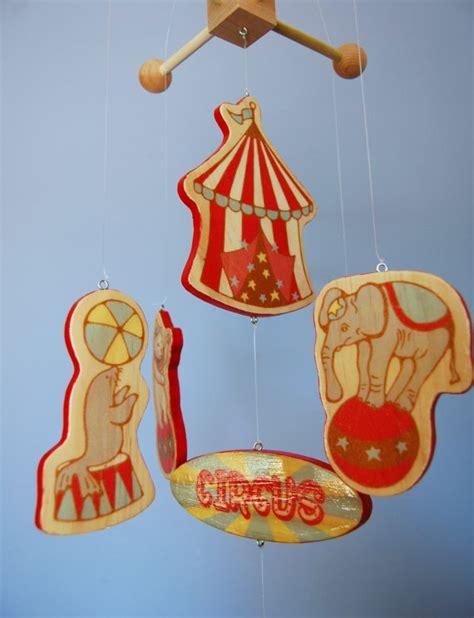 Circus Nursery Decor Baby Mobile Vintage Circus Circus Mobile Wood Mobile