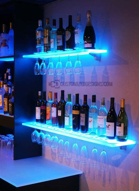 1 Set Floating Shelves 100 90 80 70cm 4buah 40cm Le Berkualitas floating shelves w wine glass rack led lighting brackets