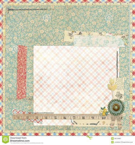 Floral Embellishments For Your Scrapbook Layouts floral scrapbook layout with vintage embellishments stock
