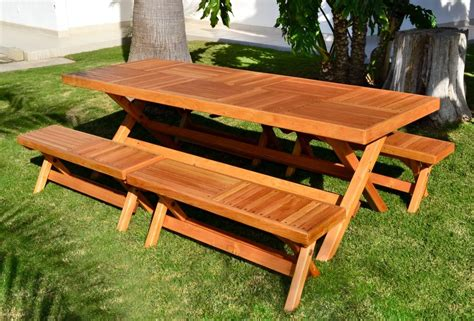 picnic bench table long outdoor folding picnic table bench with separate folding benches on green grass