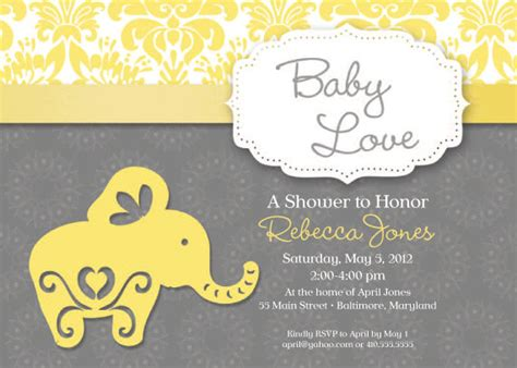 elephant theme baby shower invitation grey and yellow