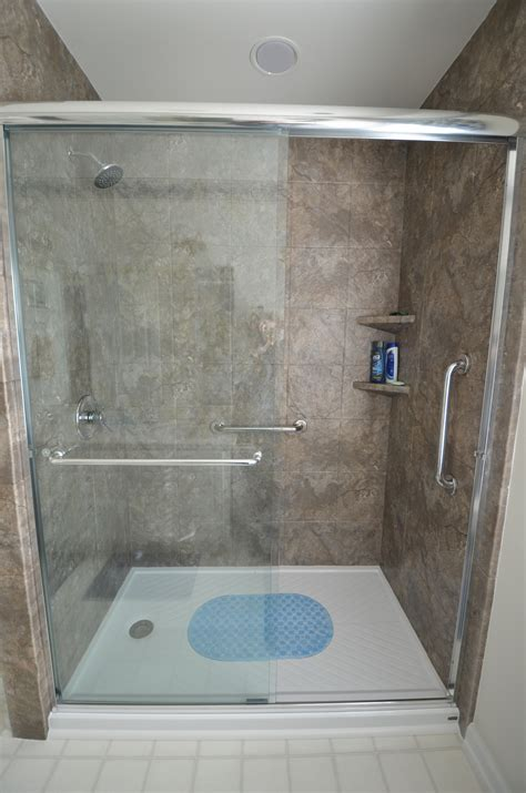 Oversized Shower Bathroom Remodel From Re Bath Oversized Tile Low