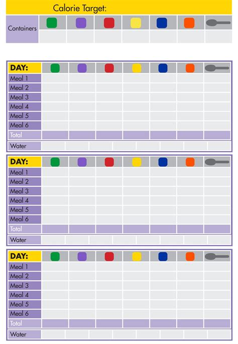21 day fix color code 21 day fix tally sheet 21 day fix recipes in 2019 21