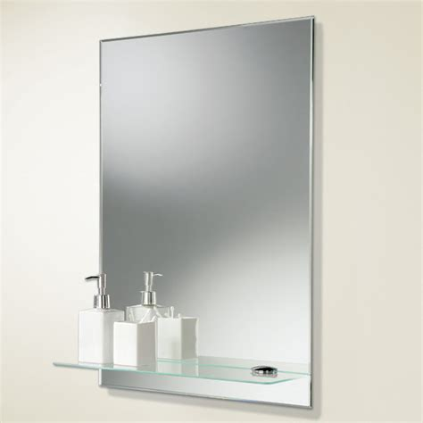 mirror shelf bathroom hib delby rectangular bevelled bathroom mirror with glass