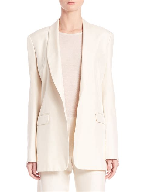 X98 White Oversize Jacket lyst helmut lang oversized silk blazer in white