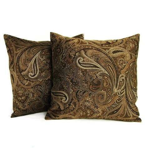 paisley throw pillows for throw pillow covers brown gold paisley 16x16 home decor