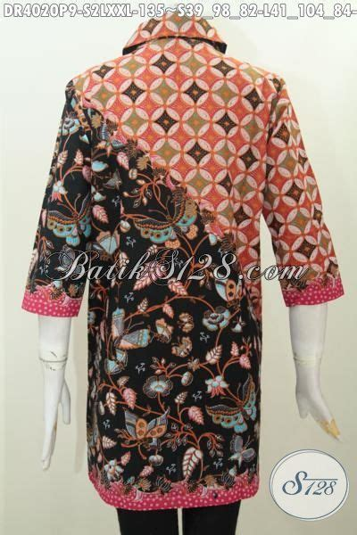 desain baju batik trend jual dress batik dua motif kerah bulat baju batik desain
