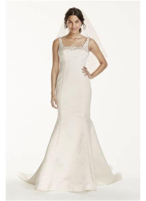 square wedding dress satin mermaid wedding dress with square neck david