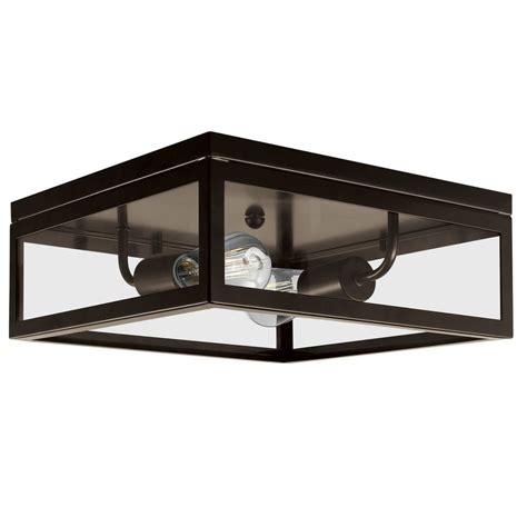 globe electric 2 light bronze flush mount