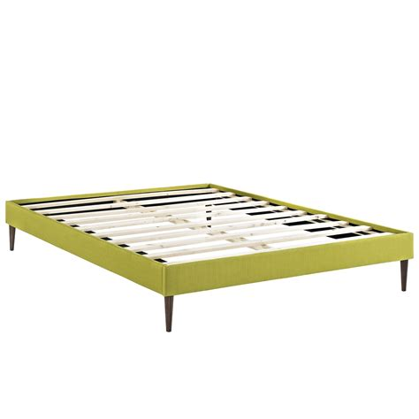 pedestal bed frame sherry upholstered fabric full platform bed frame wheatgrass