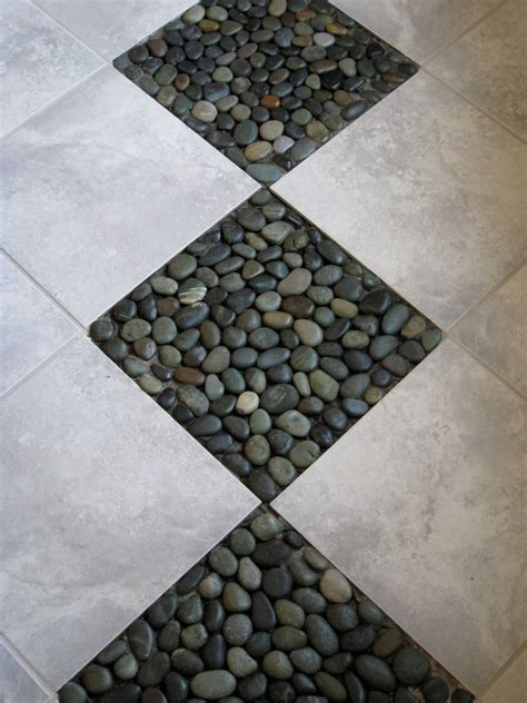 tile sheets for bathroom floor river rock tile sheets homesfeed
