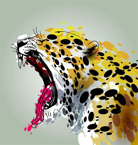 colorful illustration roaring jaguar stock vector
