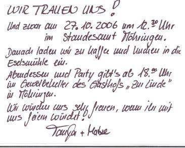 Einladung Zu Unserer Hochzeit by Homepage Der Familie M Bauer