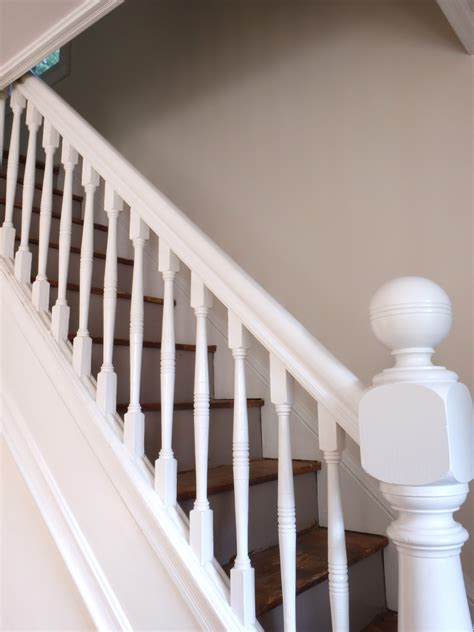 White Banister by Carpeted Stairs White Baluster All White Stairs