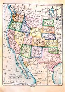 small antique map map of the united states western part