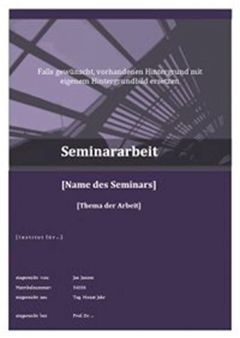 das deckblatt einer seminararbeit