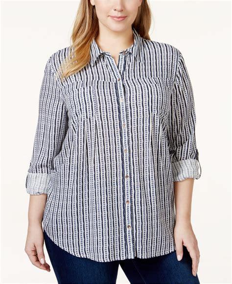 Macy S White Button Blouse style co plus size multi print button blouse only