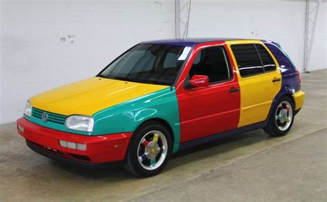 volkswagen harlequin rare factory art car 1996 volkswagen golf harlequin
