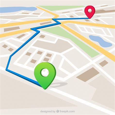 free vector map map with marked route vector free