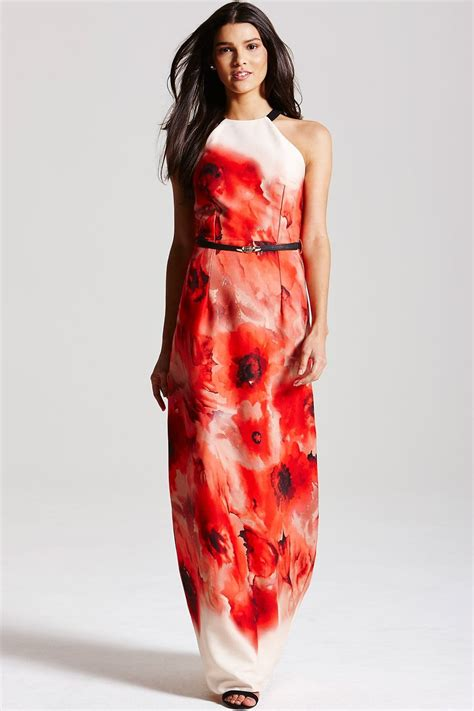 Poppy Maxi blurred poppy print maxi dress from uk