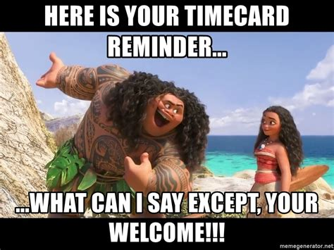 Timecard Meme - here is your timecard reminder what can i say except