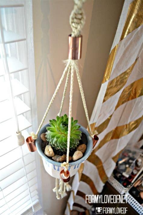 diy macrame hanging planter remodelaholic 25 diy planter tutorials