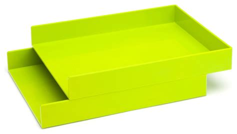 Letter Trays Lime Green Set Of 2 Modern Desk Accessories Lime Green Desk Accessories