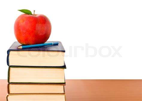 apple education school and education books tower with apple isolated on