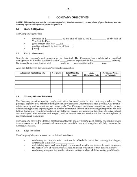 property management business plan template property management company business plan forms