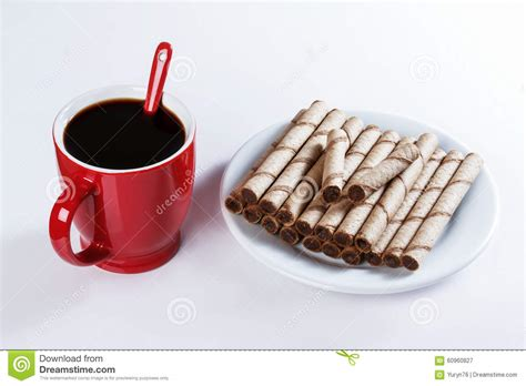 Black Coffee Aromatic One cup of black coffee cookies sweet sticks stock image