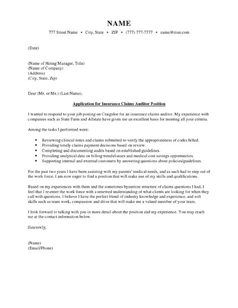 Insurance Auditor Cover Letter by Insurance Claim Cover Letter