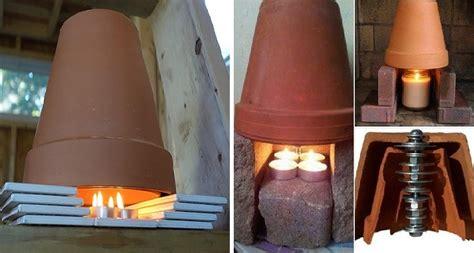 riscaldamento vasi terracotta chauffage alternative 2 pots en terre cuite 2 bougies et