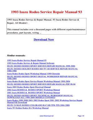 service manuals schematics 2006 isuzu i 350 parking system 1997 isuzu rodeo workshop manual pdf fill online printable fillable blank pdffiller